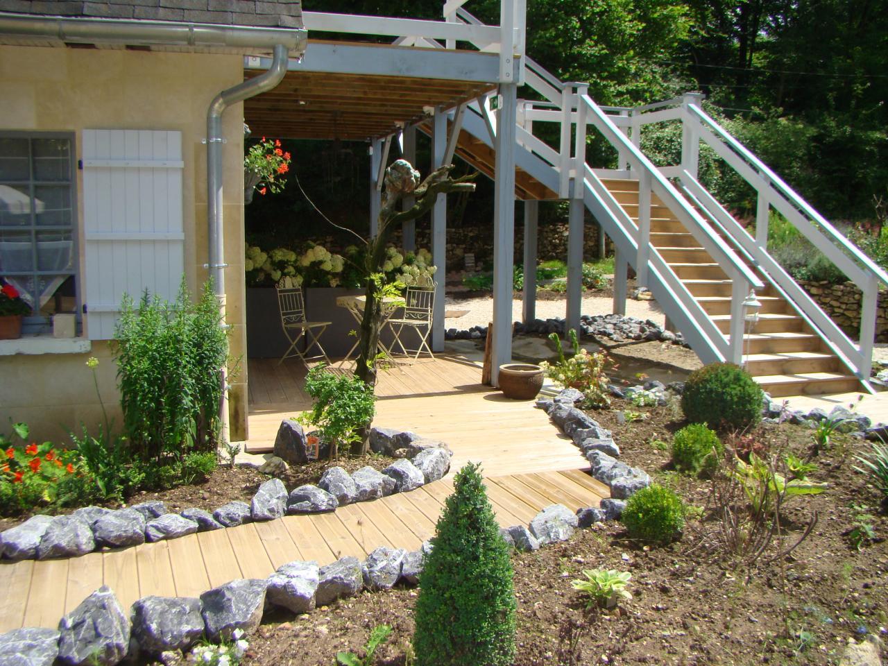 Terrasse de la chambre d'hotes Acacia du jardin de saint jean